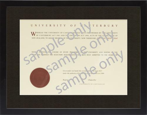 Canterbury University degree frames